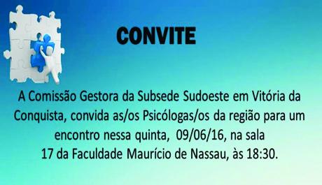 Comissão Gestora convida psicólogas/os para reunião em Vitória da Conquista