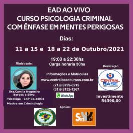 EAD AO VIVO: Curso de Psicologia Criminal com ênfase mentes perigosas